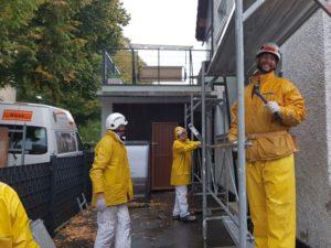Gerüstung für Fassadensanierung